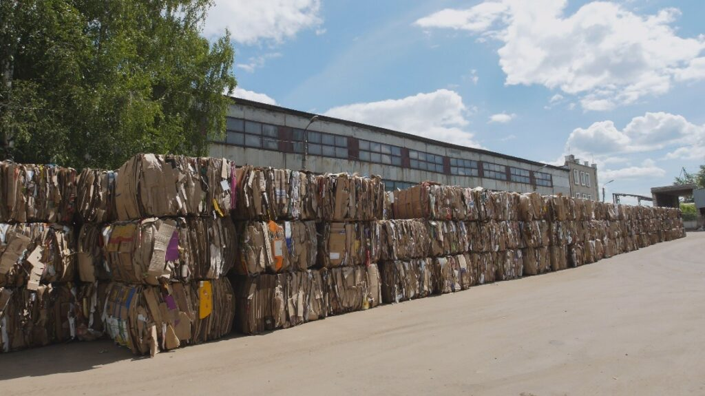 Compressed cardboard on the territory plant of the recycling in bales
